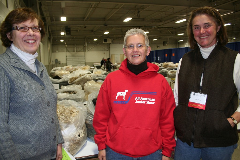 Deb Hopkins, Nancy Miniter and Robin Meek, NorthEast Youth Sheep Show committee. Robin, at right, is on the FFNE committee. Behind them is just part of the fleece sale from a previous FFNE.