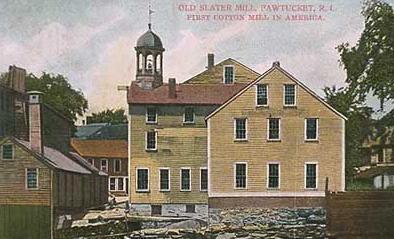 Slater Mill vintage postcard. Rhode Island.