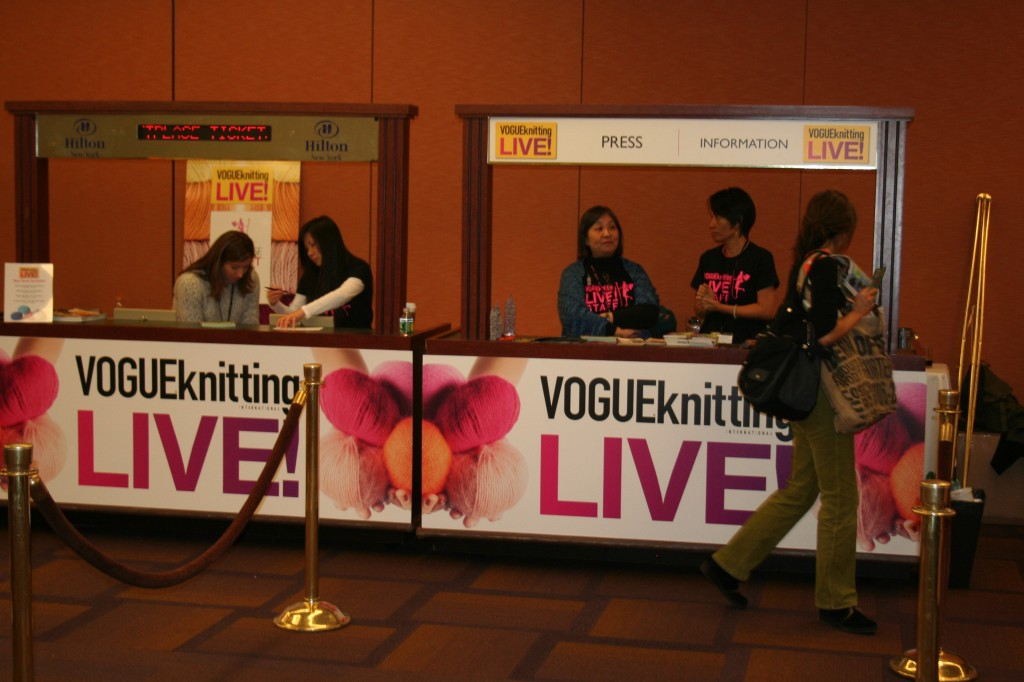 Press sign in at Vogue Knitting Live NYC 2011. Moo Dog Knits Magazine.