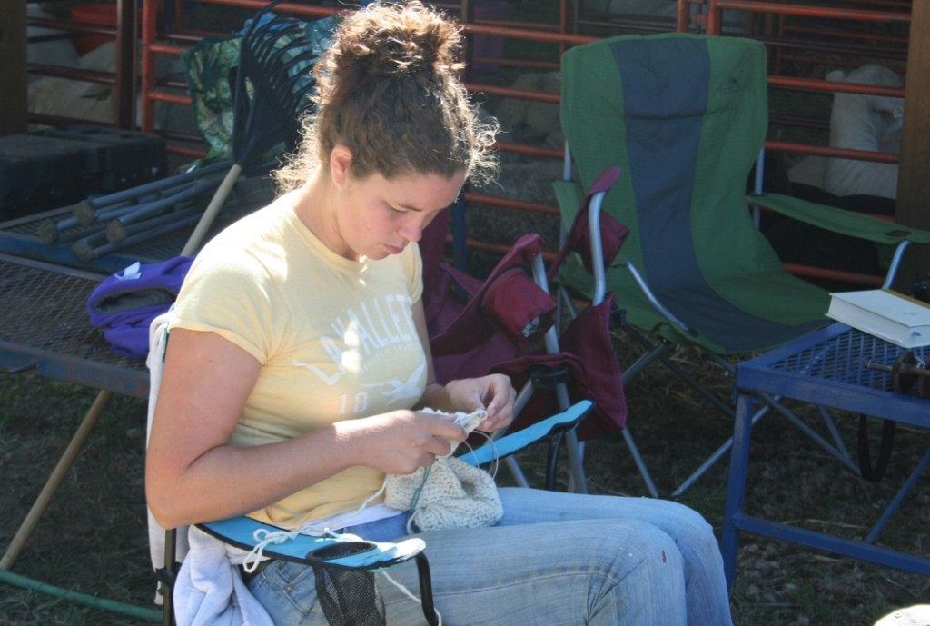 Knitting at the fair. Note the sheep in the background. Photo Moo Dog Knits Magazine