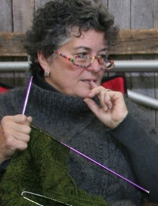 Knitter and work in progress.