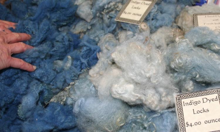 Indigo fleece locks by the ounce for felting and other fiber work. Chris Brunson photo.