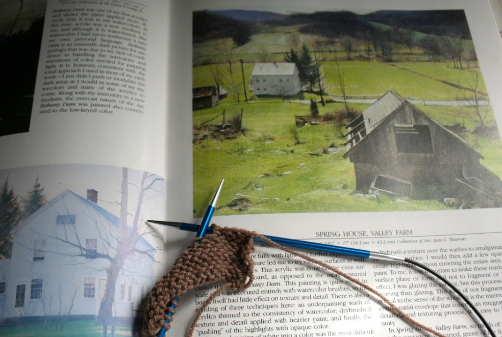 Knitting a swatch and reading go together in my life. Moo Dog Knits.