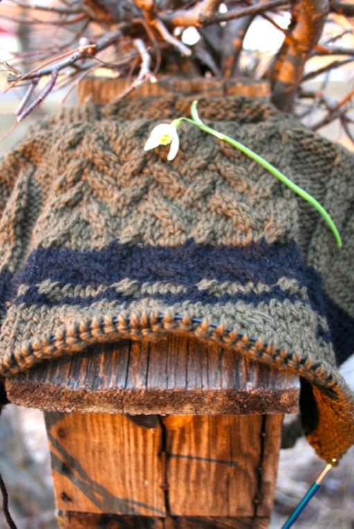 Cable knit detail. Spud & Chloe worsted colorway 7511. Moo Dog Knits.