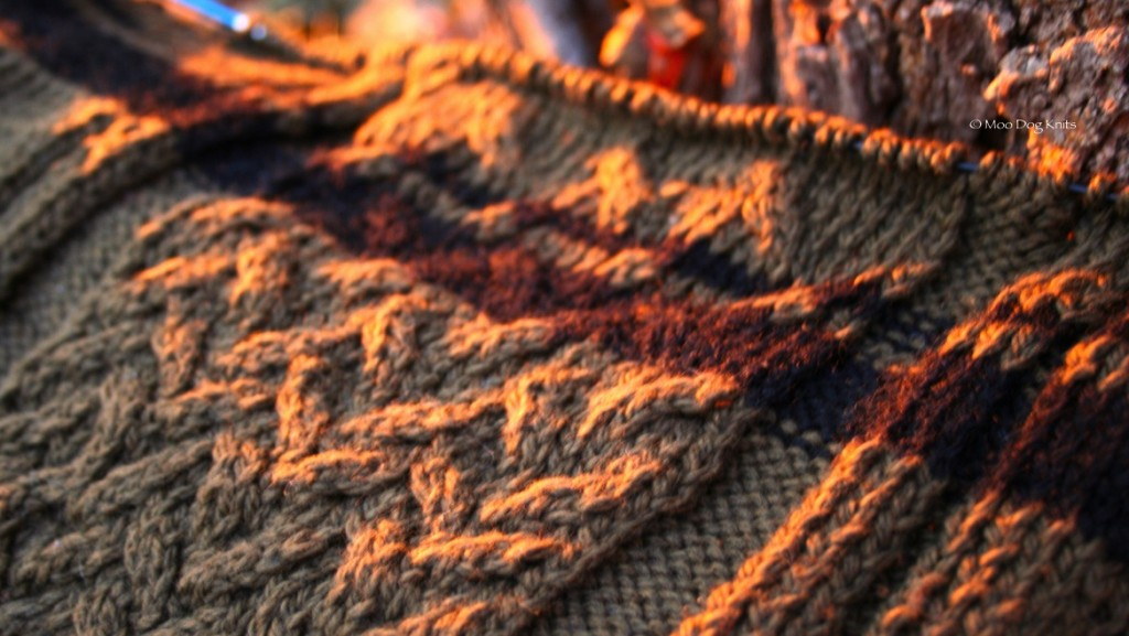 The sunset lights up a cable knit center panel of a Boston terrier handknit sweater detail.