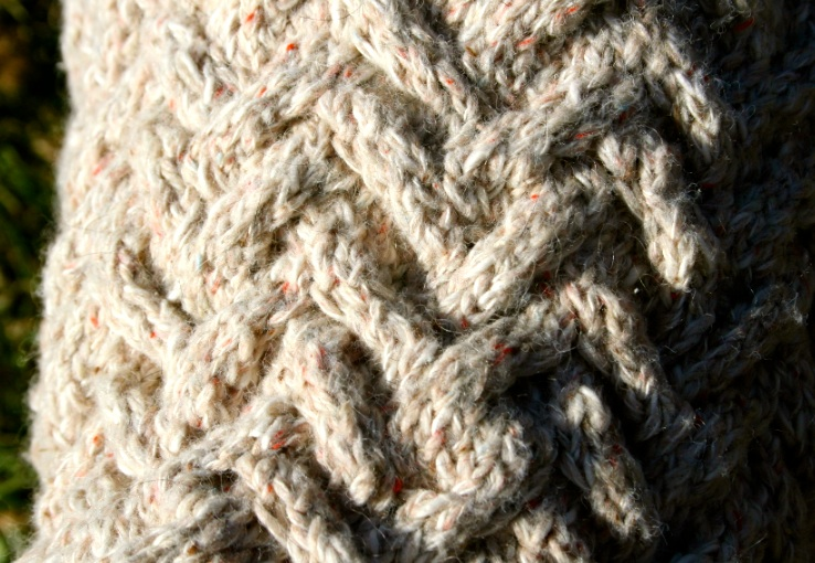 Knit cable detail of a dog sweater custom knit to fit in Farmhouse Silk Blend DK.