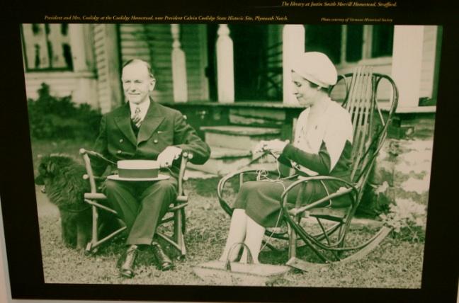 Grace Coolidge knitting alongside her husband, President Calvin Coolidge.
