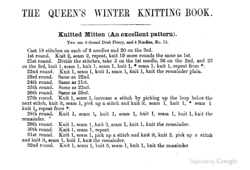 An old knitting pattern from The Queen's Winter Knitting book published in 1862.