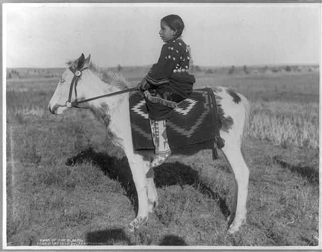Indian girl on what looks like a foal. LOC prints and photographs archives.